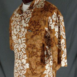 Te Mana Shirts - Te Mana Brown Cotton Hibiscus Hawaiian Shirt  XL